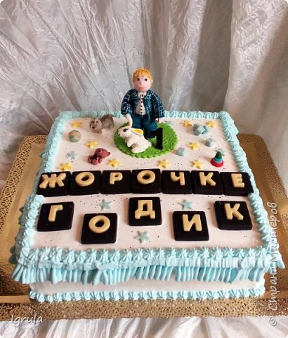 Продолжаю тему тортиков для самых маленьких. Начало тут http://stranamasterov.ru/node/1089251 Не очень удачный( на мой взгляд) тортик. Объемная аппликация в этот раз получилась несуразной какой-то. Хотя персонажи, вроде бы, узнаваемы... Вес 2,3кг. Шоколадный бисквит, сливочно-творожный карамельный крем, какао пропитка фото 16