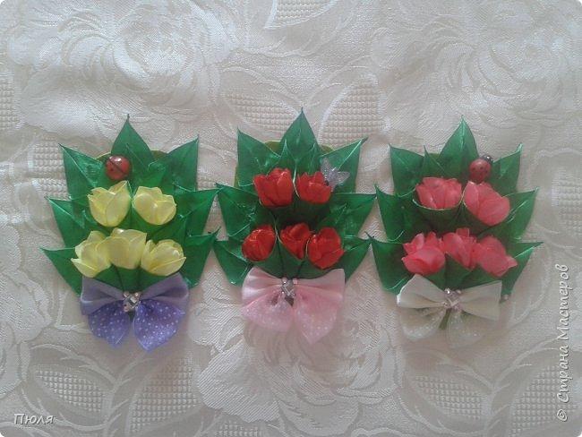 Доброго времени суток уважаемые жители СМ! Наконец то я доделала букетики тюльпанов, делала по МК: http://www.stranamam.ru/post/9181302/  и http://stranamasterov.ru/node/1018100 .  Вот  уж и 8 марта прошло давно, но цветы приятнее дарить просто так от души и без повода, поэтому принимайте мои букетики. Сделать выбор приглашаю моих кредиторов.  фото 1