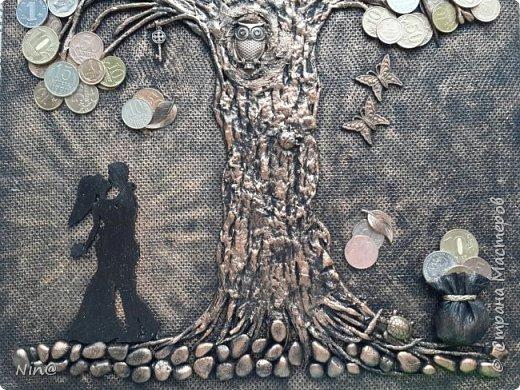 """Всем доброго времени суток!  Это """"Денежное дерево"""" я сделала любимому сыну в подарок  с посылом активации всех символов, присутствующих на панно.  Спасибо за МК Раисе Филатовой """"Детям отказывать нельзя..."""" (http://stranamasterov.ru/node/852093?c=favorite)  Размер панно-картины без рамки - 30 х 45 см. фото 15"""