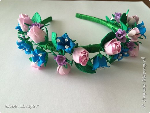 Ободок для дочери. Сиреневые цветочки сделаны при помощи дырокола. фото 1