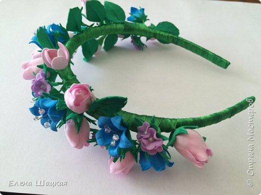 Ободок для дочери. Сиреневые цветочки сделаны при помощи дырокола. фото 2