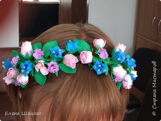 Ободок для дочери. Сиреневые цветочки сделаны при помощи дырокола. фото 3