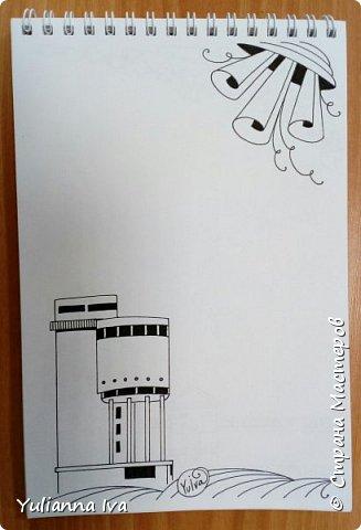 Как видно по моим последним записям, в последнее время я увлеклась зентаглом. Рисовала я, рисовала... и нарисовала странички для блокнота с мотивами родного города. Раньше он назывался Свердловск, но уже много лет как ему возвращено историческое название - Екатеринбург.  Думаю, стоит это все оформить и дарить друзьям в качестве сувенира))) Эти странички могут быть просто блокнотом, а могут быть раскраской антистресс))) Итак, обложка. фото 10