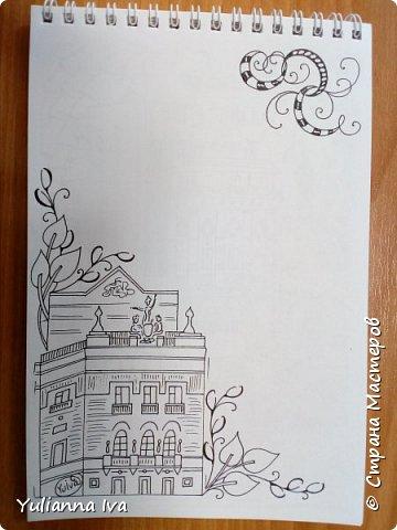 Как видно по моим последним записям, в последнее время я увлеклась зентаглом. Рисовала я, рисовала... и нарисовала странички для блокнота с мотивами родного города. Раньше он назывался Свердловск, но уже много лет как ему возвращено историческое название - Екатеринбург.  Думаю, стоит это все оформить и дарить друзьям в качестве сувенира))) Эти странички могут быть просто блокнотом, а могут быть раскраской антистресс))) Итак, обложка. фото 7