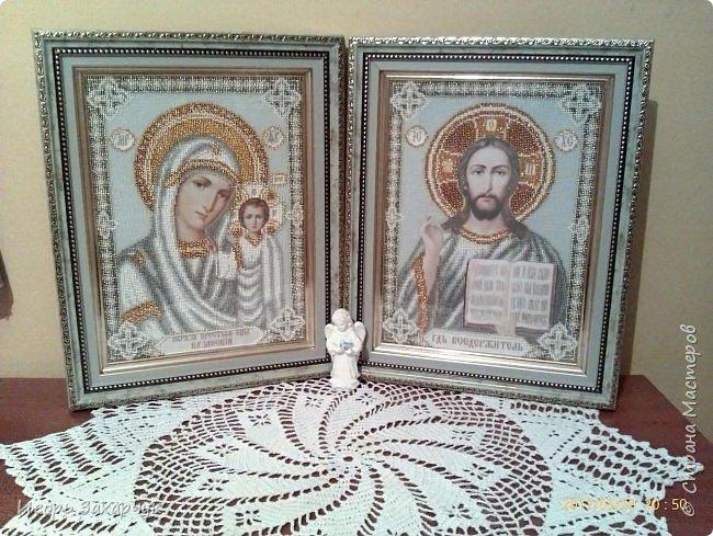 """Вышитые женой иконы """"Венчальная пара"""" фото 1"""