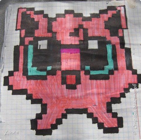 Всем привет! Сегодня я вам покажу мои рисунки по клеточкам. Раскрашивала рисунки карандашами и фломастерами.  Это котёнок. фото 1