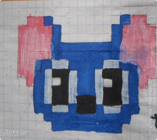 Всем привет! Сегодня я вам покажу мои рисунки по клеточкам. Раскрашивала рисунки карандашами и фломастерами.  Это котёнок. фото 6