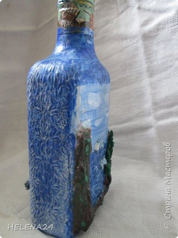 После алых парусов захотелось ещё пейзажа ,а так как в хотелках осталась  бутылка с пейзажем подсмотренная у Верочки http://stranamasterov.ru/node/935970?c=favorite_1248 ,то её и сделала  фото 3