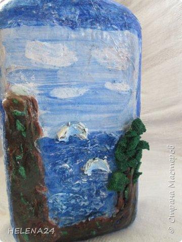 После алых парусов захотелось ещё пейзажа ,а так как в хотелках осталась  бутылка с пейзажем подсмотренная у Верочки http://stranamasterov.ru/node/935970?c=favorite_1248 ,то её и сделала  фото 4