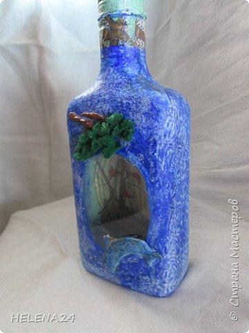 После алых парусов захотелось ещё пейзажа ,а так как в хотелках осталась  бутылка с пейзажем подсмотренная у Верочки http://stranamasterov.ru/node/935970?c=favorite_1248 ,то её и сделала  фото 7