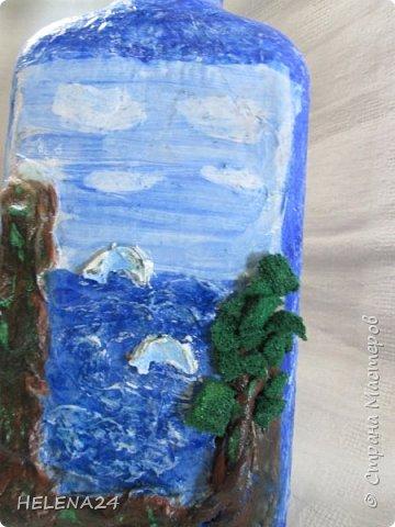 После алых парусов захотелось ещё пейзажа ,а так как в хотелках осталась  бутылка с пейзажем подсмотренная у Верочки http://stranamasterov.ru/node/935970?c=favorite_1248 ,то её и сделала  фото 8