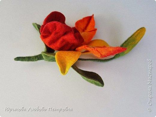 Орхидея Каттлея. Элегантный и романтичный аксессуар-брошь. Шерсть. фото 5