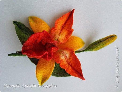 Орхидея Каттлея. Элегантный и романтичный аксессуар-брошь. Шерсть. фото 2