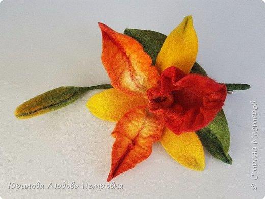 Орхидея Каттлея. Элегантный и романтичный аксессуар-брошь. Шерсть. фото 4
