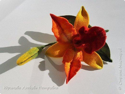 Орхидея Каттлея. Элегантный и романтичный аксессуар-брошь. Шерсть. фото 3