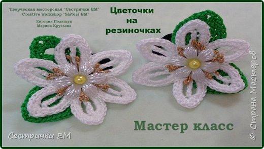 Сегодня я предлагаю связать цветы на резиночках для маленьких модниц.  Цветы вяжутся совсем просто и на создание украшения у вас не уйдет много времени, но конечный результат вас очень порадует.