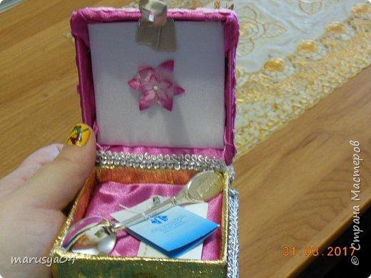 Попросили на работе обклеить коробочку под ложечку для новорожденной... Ну обклеила - коробочка не закрылась - пришлось делать из нее шкатулочку...короче - Остапа понесло... фото 2