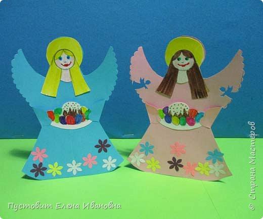 """Зимой делали рождественского ангелочка, детворе игрушка понравилась.Решили сделать весеннего ангелочка с пасхальными яичками. Открыточка-яичко уже """"архивная"""", сделана четыре года назад - такие сувениры можно посмотреть по ссылке: https://stranamasterov.ru/node/536377   фото 2"""