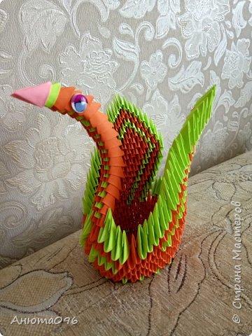 Лебедь (модульное оригами) фото 5