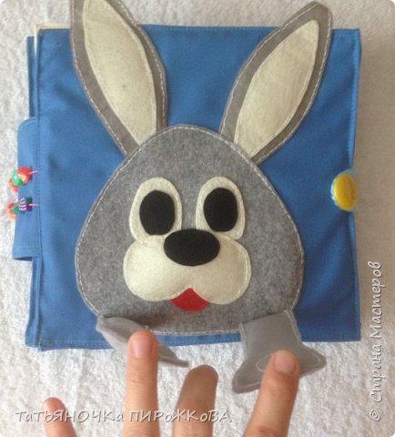 Моя первая развивающая книжка в подарок 2-х летнему племяннику. Обложка: Заяц из фетра. Лапками закрывает глаза (в лапах и глазах вшиты магнитики) фото 2