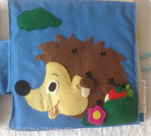 Моя первая развивающая книжка в подарок 2-х летнему племяннику. Обложка: Заяц из фетра. Лапками закрывает глаза (в лапах и глазах вшиты магнитики) фото 12