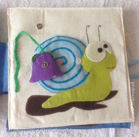 Моя первая развивающая книжка в подарок 2-х летнему племяннику. Обложка: Заяц из фетра. Лапками закрывает глаза (в лапах и глазах вшиты магнитики) фото 17