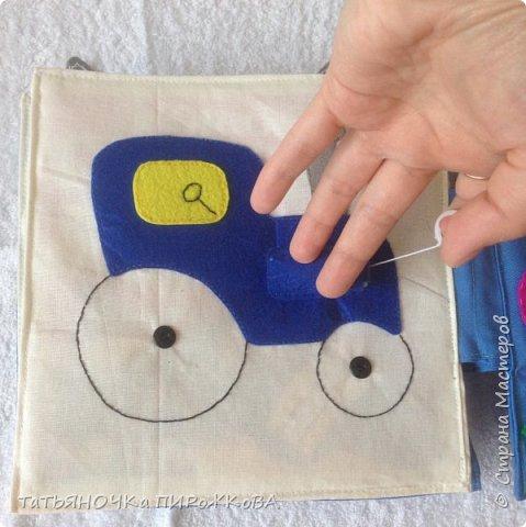 Моя первая развивающая книжка в подарок 2-х летнему племяннику. Обложка: Заяц из фетра. Лапками закрывает глаза (в лапах и глазах вшиты магнитики) фото 21