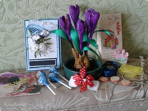 У нас ещё зима, снега полно, а у меня весенние цветочки расцвели присланные Еленой ДЕТСАД http://stranamasterov.ru/user/18423 по  обмену весенними открытками. фото 1