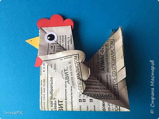 Вот таких курочек можно сделать к Пасхе с детьми. За основу взяла готовый способ складывания оригами, но добавила свое. Эту курочку смогут сделать даже дети 4-5 лет, делается очень просто.  фото 13