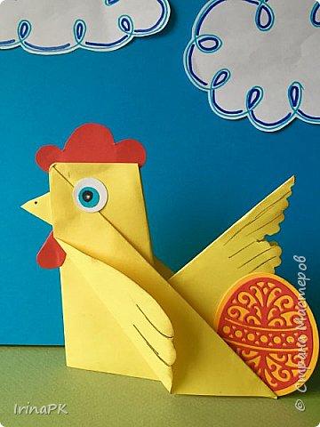 Вот таких курочек можно сделать к Пасхе с детьми. За основу взяла готовый способ складывания оригами, но добавила свое. Эту курочку смогут сделать даже дети 4-5 лет, делается очень просто.  фото 16