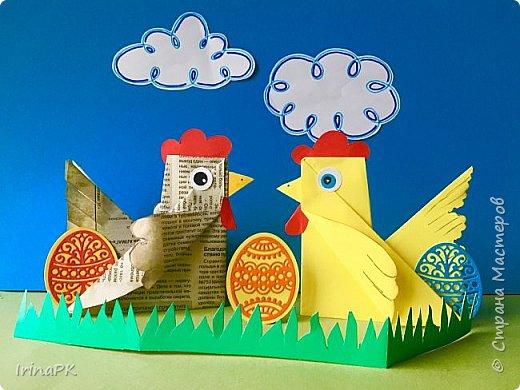 Вот таких курочек можно сделать к Пасхе с детьми. За основу взяла готовый способ складывания оригами, но добавила свое. Эту курочку смогут сделать даже дети 4-5 лет, делается очень просто.  фото 18