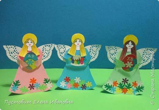 """Зимой делали рождественского ангелочка, детворе игрушка понравилась.Решили сделать весеннего ангелочка с пасхальными яичками. Открыточка-яичко уже """"архивная"""", сделана четыре года назад - такие сувениры можно посмотреть по ссылке: https://stranamasterov.ru/node/536377   фото 12"""