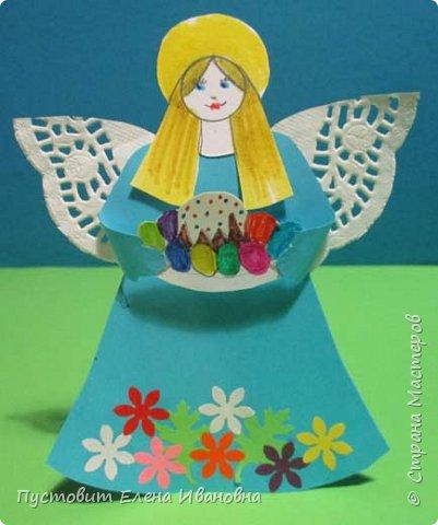 """Зимой делали рождественского ангелочка, детворе игрушка понравилась.Решили сделать весеннего ангелочка с пасхальными яичками. Открыточка-яичко уже """"архивная"""", сделана четыре года назад - такие сувениры можно посмотреть по ссылке: http://stranamasterov.ru/node/536377   фото 13"""