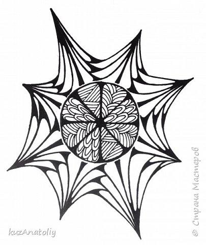 Как нарисовать разрезанный апельсин в стиле зентангл