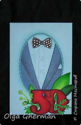 """Обратилась ко мне на днях знакомая насчет открытки... Ей нужна открытка для мужчины на 50-летие.  И тут я поняла, что в этом направлении у меня пробел... В наличии """"мужской"""" тематики у меня были только пиджаки.  http://stranamasterov.ru/node/1075030  Вот так , благодаря этому случаю, создались еще 2 открытки-стойки в мужском стиле. фото 8"""