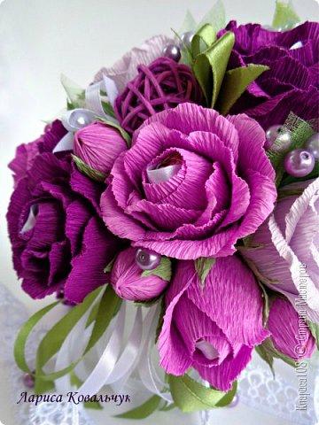 Букет в кашпо Фиолетовое танго. Всего 31 конфета - 16 Трюфель и 15 Нота бум. фото 4