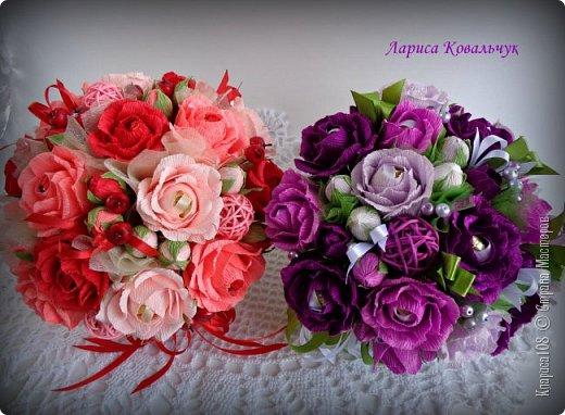 Букет в кашпо Фиолетовое танго. Всего 31 конфета - 16 Трюфель и 15 Нота бум. фото 7