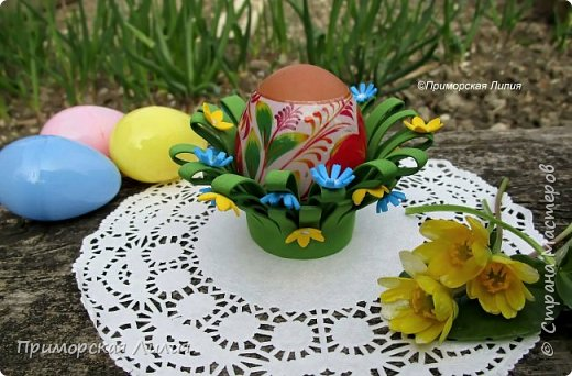 Вторая подставка для яйца (из моих работ к Пасхе) выполнена из фоамирана. Просто, быстро. Можно делать с детьми. фото 1