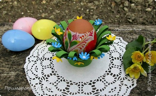 Вторая подставка для яйца (из моих работ к Пасхе) выполнена из фоамирана. Просто, быстро. Можно делать с детьми. фото 2