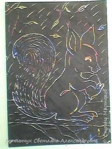 """НА уроке ИЗО  ребята  4""""В"""" класса работали   над изображением  """"Этих забавных  животных """"  в  технике  граттаж. Царапки   получились восхитительные !!! .Ребята! ВЫ - МОЛОДЦЫ!!! фото 15"""