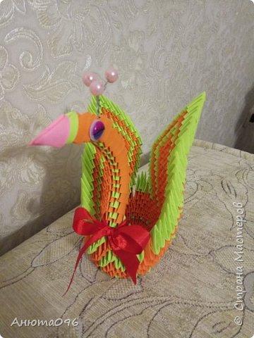 Лебедь (модульное оригами) фото 6