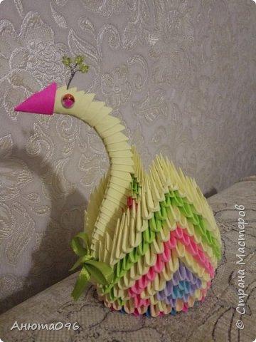 Лебедь (модульное оригами) фото 7