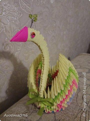 Лебедь (модульное оригами) фото 8