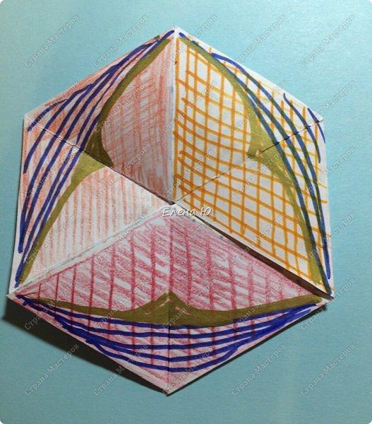 Предлагаю сделать забавную и совсем несложную  безделушку (головоломку)  - флексагон. Флексагоны — плоские модели из полосок бумаги, способные складываться и сгибаться определённым образом.  фото 32
