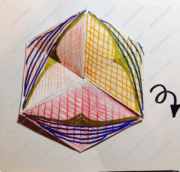 Предлагаю сделать забавную и совсем несложную  безделушку (головоломку)  - флексагон. Флексагоны — плоские модели из полосок бумаги, способные складываться и сгибаться определённым образом.  фото 33