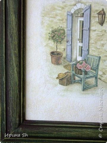 Очень мне понадобилось на новую полочку панно. Была старая деревянная рамка для фото, купила рисовую бумагу с нужной картинкой и картон для художественных работ. фото 3