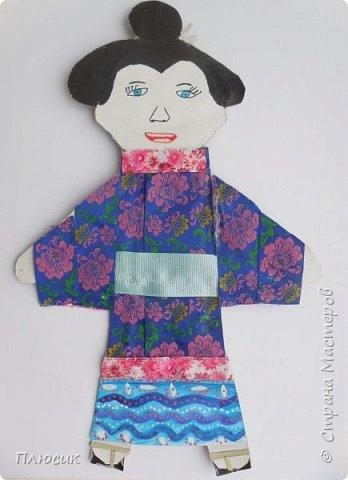 Эту работу выполнила моя ученица Еловикова Екатерина, 10 лет. Девочка из Японии в кимоно с широким поясом. На ногах деревянные туфли, которые похожие на скамеечки с двумя ножками-каблуками.   фото 1