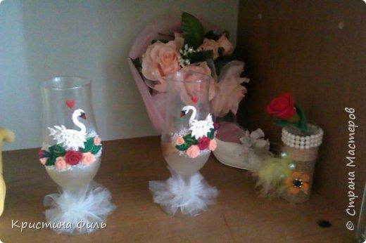 Мой первый опыт в оформлении бутылки и бокалов в свадебной тематике!! фото 2