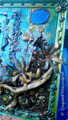 Не судите строго) накопилось куча всячины)   и на ум пришла морская тематика))  насмотревшись морских ассамбляжей как отдельных элементов захотелось обьеденить в нечто едние, в итоге получилась такая идея воплощенная в ассамбляж. фото 4