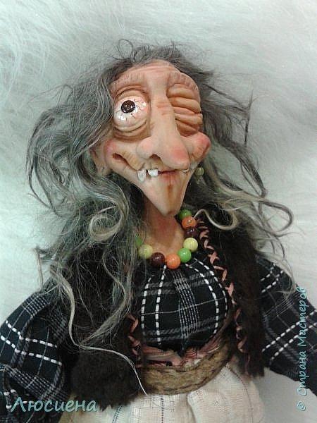 Интерьерная кукла ручной работы(запекаемая пластика и скульптурный текстиль) Бабка Ежка фото 6
